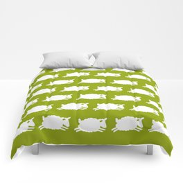 Counting Sheep. White on Green. Comforters