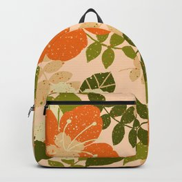 Orange Hibiscus Backpack