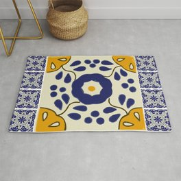 Talavera Mexican tile inspired bold design in blue and yellow Rug