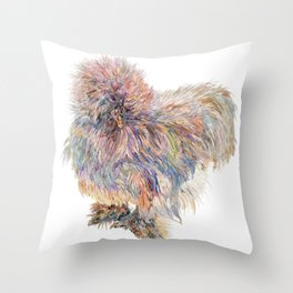 Silkie Chicken - Sweety Poof Throw Pillow