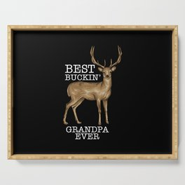 Deer Hunting - Bucking Grandpa Serving Tray