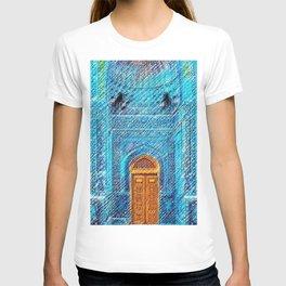 Blue Tile Mosaic Mosque Portrait - Sultan Ahmed Mosque by Jéanpaul Ferro T-shirt