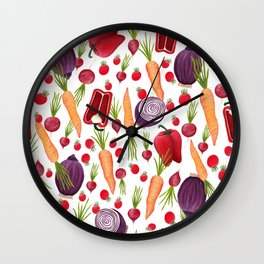 Farmers Market Vegetables Wall Clock