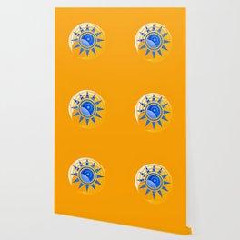 Orange Moon Blue Star Abstract Wallpaper