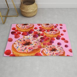 DELICIOUS PINK PASTRY & RASPBERRIES DESSERTS Rug