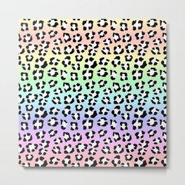 Soft Pastel Rainbow Leopard Spots Leopard Spots Animal Print Metal Print