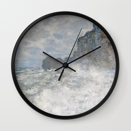 Rough weather at Etretat by Claude Monet, 1883 Wall Clock