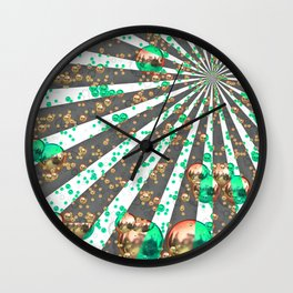 Orange green ball Wall Clock