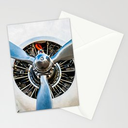 Legendary Vintage Aircraft Engine And Propeller On White Stationery Cards