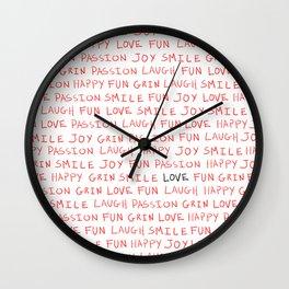 Love's Words Wall Clock