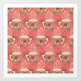 Steaming Coffee Mugs Art Print