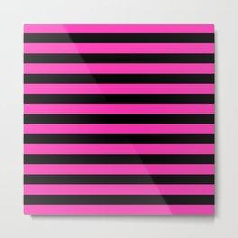 Hot Pink and Black Stripes Metal Print