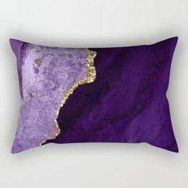 Watercolor Agate in Purple, Aubergine, Lavender Rectangular Pillow