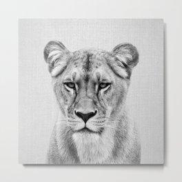 Lioness - Black & White Metal Print