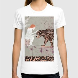 the woman with a jaguar T-shirt