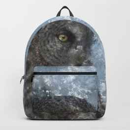 Contemplation - Great Grey Owl Portrait Backpack
