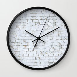 Vintage White Brick Wall Wall Clock