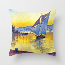 French Paul Signac - The Port at Sunset. Saint-Tropez Throw Pillow