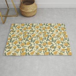 Meyer Lemon & Yellow | Lemon & Leaf Seamless Pattern Rug