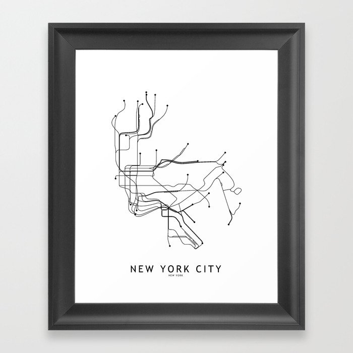 New York City White Subway Map Gerahmter Kunstdruck