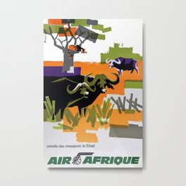 Air Afrique Chad Vintage Travel Poster Metal Print