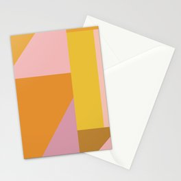 Shapes in Vintage Modern Pink, Orange, Yellow, and Lavender Stationery Cards