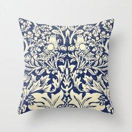 Brother Rabbit - Sand on Navy, William Morris Throw Pillow