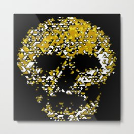 Geometric Mustard Yellow Skull Composed Of Triangles Metal Print