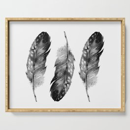 Three Feathers Black And White II Serving Tray