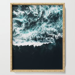 Oceanholic, Sea Waves Dark Photography, Nature Ocean Landscape Travel Eclectic Graphic Design Serving Tray
