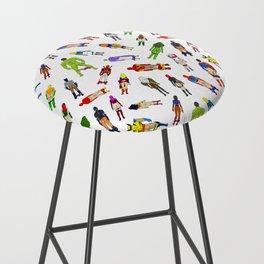 Superhero Butts with Villians - Light Pattern Bar Stool