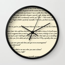 Pride and Prejudice Jane Austen antique white Wall Clock