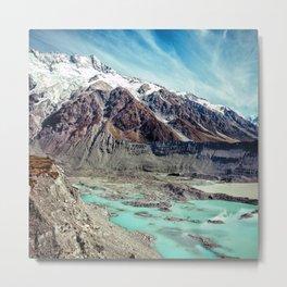 Glorious Snow-Capped Mountains With Aqua Glacier Streams Metal Print
