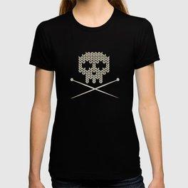 Knitted Skull - Black on Beige T-shirt