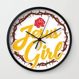 Funny Girl Loves Jesus Christ Quote Meme  Gift Wall Clock