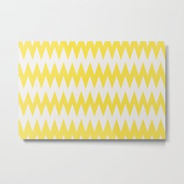 Zigzag Line Pattern Yellow and Off White Pantone's Color of the Year 2021 Illuminating 13-0647 Metal Print