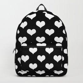 Black And White Hearts Minimalist Backpack