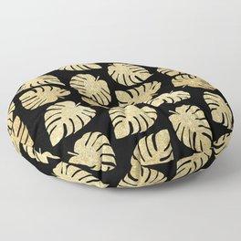Gold Glitter Monstera Leaves Pattern Floor Pillow