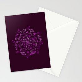 Purple love hearts mandala Stationery Cards