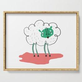 Sheep illustration, great for nursery decor, art for kids, animal poster Serving Tray