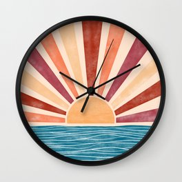 Warm Sunset on the Ocean  Wall Clock