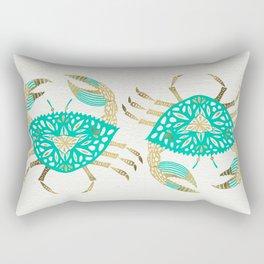 Crab – Turquoise & Gold Rectangular Pillow