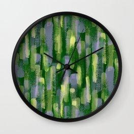 Brushstrokes in Green Wall Clock