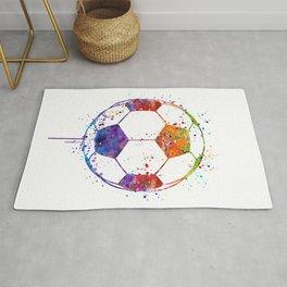 Soccer Ball Watercolor Sports Art Rug