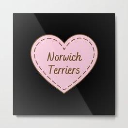 I Love Norwich Terriers Simple Heart Design Metal Print