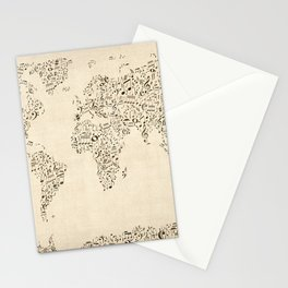 Music Notes Map of the World Stationery Cards