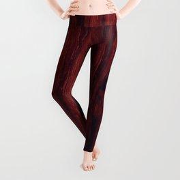 Deep red wood veneer design Leggings
