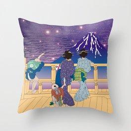 Hokusai People Seeing Mt. Fuji under the Stars Throw Pillow