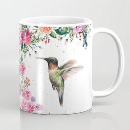 Hummingbird and Flowers Watercolor Animals Kaffeebecher