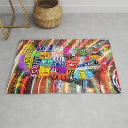 License Plate Map of United States Lights Rug